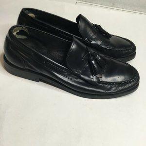 Bass Mens Black Leather Loafer Kiltie Tassel